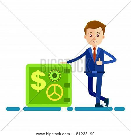 Cartoon businessman in blue suit and red tie shows big thumb up and stands near big green safe isolated on white background. Male cartoon character icon. Vector illustration of wealth and success.