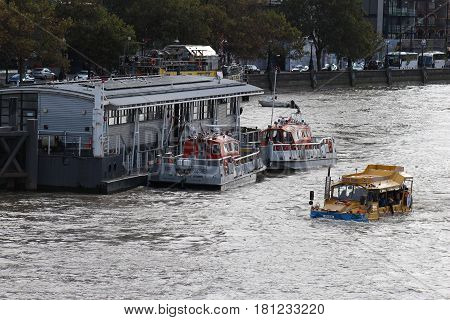 London, September 2016. A fire and rescue boat operated by the London Fire Brigade seen on the River Thames