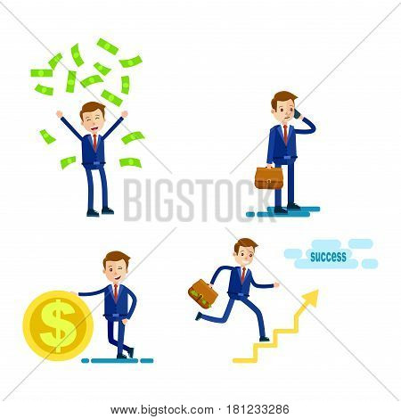 Lifestyle of successful Businessman on white background. Vector illustration of man with gold coin, green money falling on person, male holding phone and bag, businessman ascending to success.