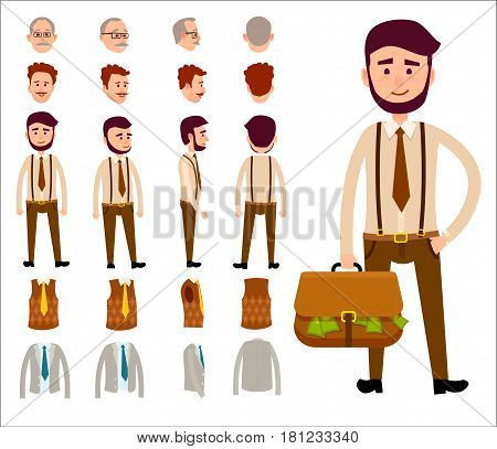 Businessman with briefcase full of money on white background. Constructor includes spare heads of redhead and grey men and clothes, vest and jacket with tie. Cartoon character vector illustration.