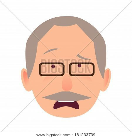 Sorrowful face emotion on elderly man in black-rimmed glasses with opened mouth close-up portrait on white. Dumpish and lamentable face in surprise. Vector illustration of character and face emotion