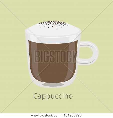 Glass mug of aromatic cappuccino flat vector. Hot invigorating drink with caffeine. Coffee with frothing milk and chocolate sprinkle on creamy foam illustration for coffee house or cafe menus design