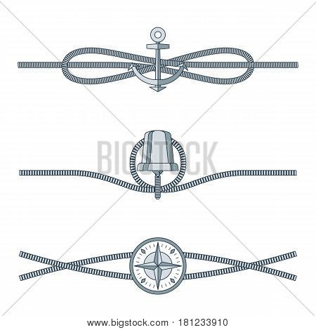 Rope knots collection with decorative elements on white background. Vector illustration of marine cordage unit with mariner s compass, silver bell and submarine anchor. Drawn pattern nautical style.