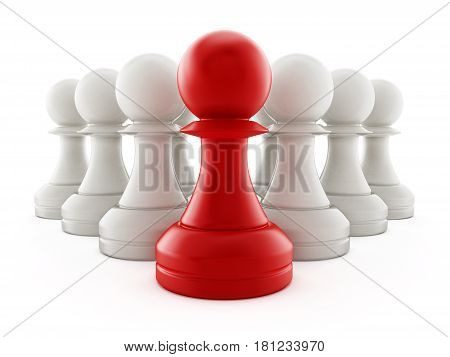 Red chess pawn standing ahead of white pawns. 3D illustration.