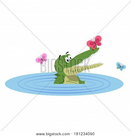 Cartoon crocodile swimming in lake with butterfly on nose isolated on white background. Cute big reptile in swimming pool vector illustration. Drawn friendly croc with colorful butterflies