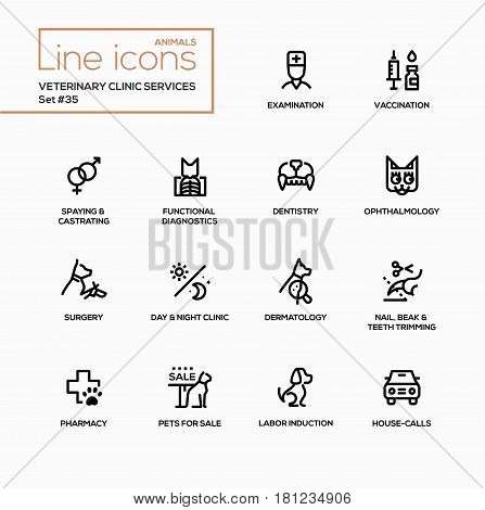 Veterinary clinic services - modern vector single line icons set. Examination, vaccination, spaying, castrating, functiaonal diagnostics, dentistry, ophthalmology, surgery, day, night, clinic, dermatology, nail, beak, teeth, trimming, pharmacy, pets for s poster
