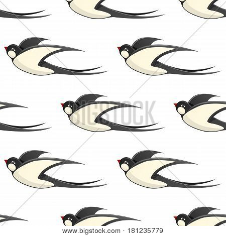 Flying swallows seamless pattern. Common house martin with straightened wings flat vector on white background. Flying bird illustration for wrapping paper, prints on fabric, greeting cards design