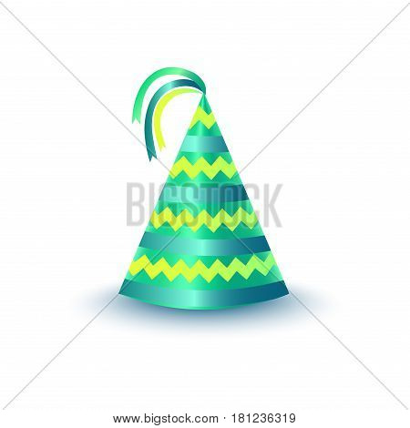 Brightly decorated with ribbons and zigzag pattern party hat. Striped green paper conical cap for festive costumes isolated vector illustration. Birthday or New Year party dressing icon accessory