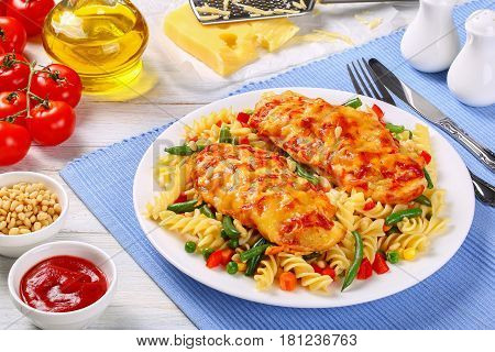 Grilled Chicken Breast With Fusilli Pasta