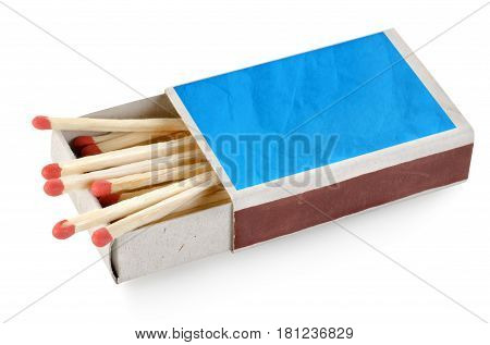 Blue matchbox isolated on a white background