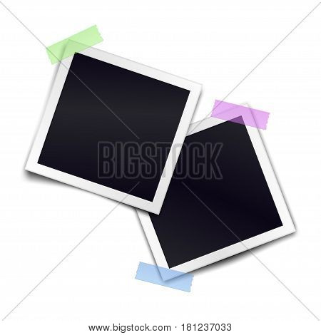 Two retro photorealistic photo frame sticked on duct tape to white background. Template for design. Vector illustration