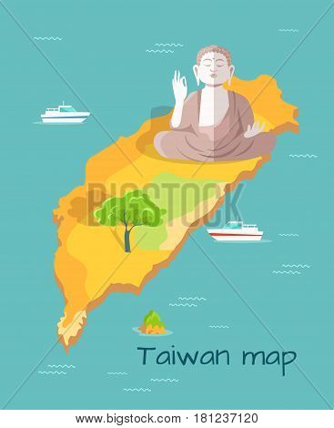 Cartoon Taiwan map with huge Buddha statue, green tree and small boats. Chinese island in Pacific Ocean vector illustration. Taiwan famous places exploration. Sightseeing of authentic places.