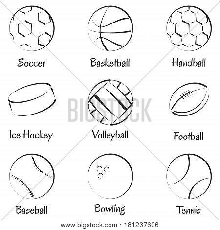 Set of vector sports equipments for soccer, football, ice hockey, handball, volleyball, baseball, bowling and tennis.