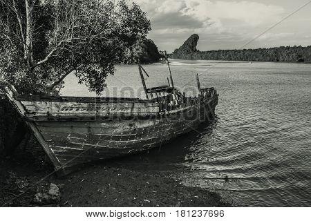 shipwreck aground vintage mono tone vintage art.