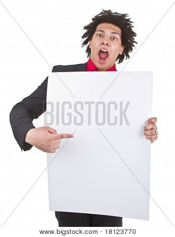 Businessman With Afro With Blank Sign