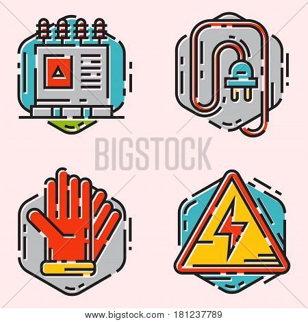 Energy outline colorful style and resource icon set vector illustration electricity industrial current technology counter. Electrical wire socket voltage nuclear battery socket voltage current.