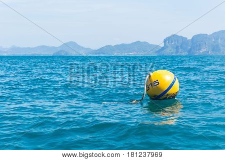 Yellow Buoys, Safety Ball Floating For Danger Warning Deep Sea Area In Ocean.