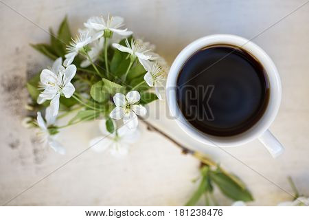 Cup of black coffee on a light colored wooden tray together with cherry twig in a bloom view from above