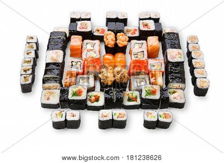 Japanese food restaurant delivery - sushi maki, unagi, california roll big party platter set isolated on white background