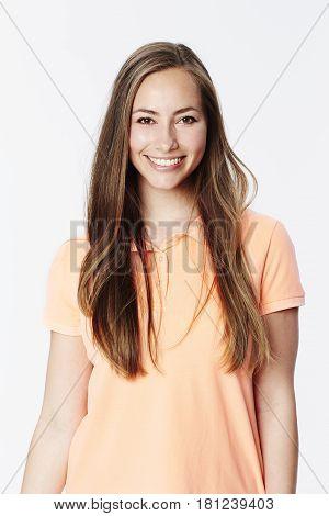 Beautiful brunette in white studio studio shot