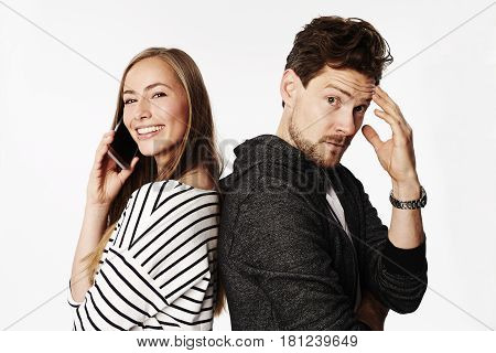 Communication breakdown of couple portrait studio shot