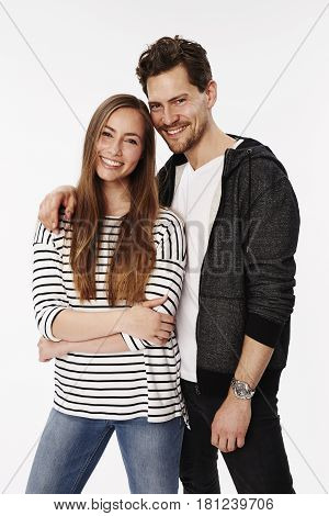 Young happy Cheerful couple in studio portrait