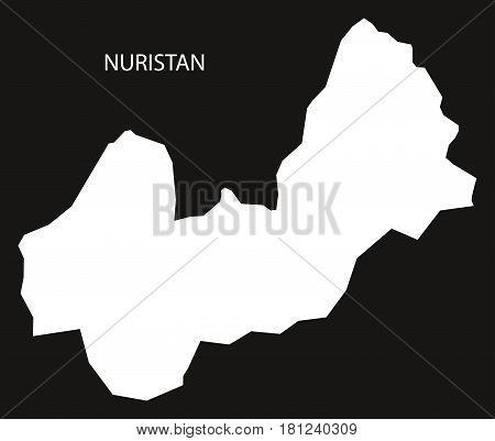 Nuristan Afghanistan Map Black Inverted Silhouette Illustration
