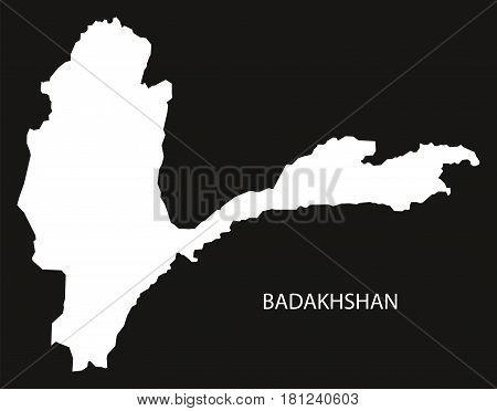 Badakhshan Afghanistan Map Black Inverted Silhouette Illustration