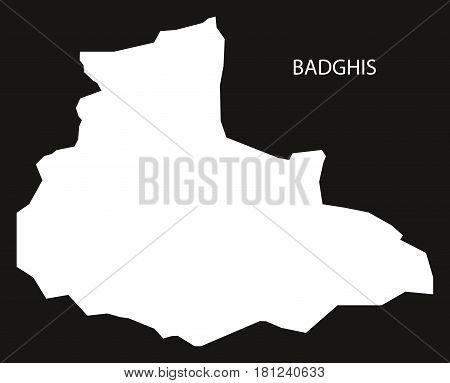 Badghis Afghanistan Map Black Inverted Silhouette Illustration