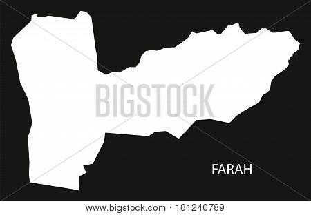 Farah Afghanistan Map Black Inverted Silhouette Illustration