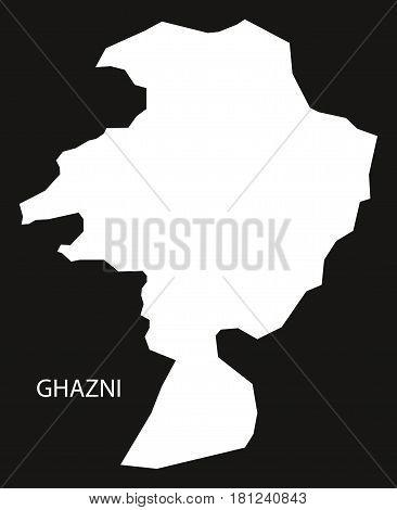 Ghazni Afghanistan Map Black Inverted Silhouette Illustration