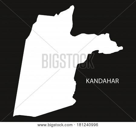 Kandahar Afghanistan Map Black Inverted Silhouette Illustration