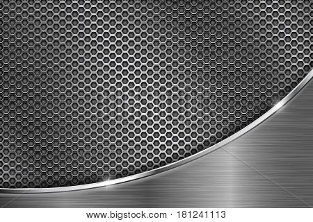 Metal perforated background with chrome curve element. Hexagon shape holes. Vector 3d illustration