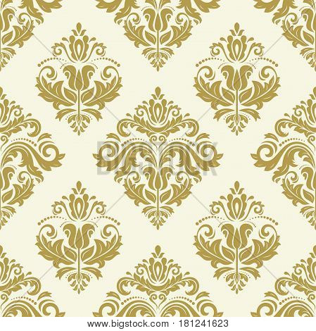 Orient vector classic golden pattern. Seamless abstract background with repeating elements. Orient background