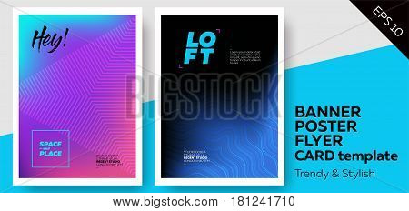 Set of Bright Covers with Trendy Patterns. Colorful Gradient Background. Template for Poster Web Banner Pop-Up Card Flyer Fashion Invitation.