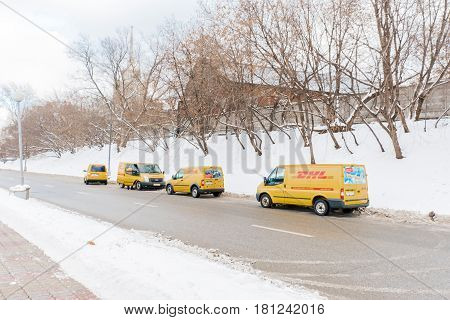 MOSCOW JAN 18: DHL courier service delivers parcels to customers on January 18, 2017 in Moscow.DHL is a world wide courier company that operates in 220 countries with over 285, 000 employees.