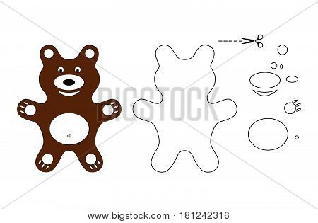 Vector silhouette bear divided into separate elements to create a design application, quilting, embroidery, children's toys.