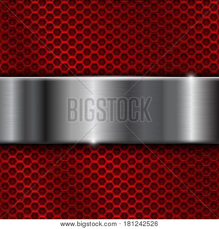 Red metal perforated background with stainless steel plate. Vector 3d illustration