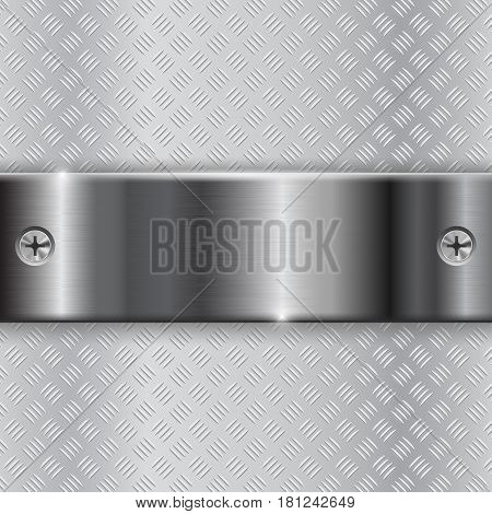 Metal brushed plate with screws on non-slip metallic surface. Vector 3d illustration