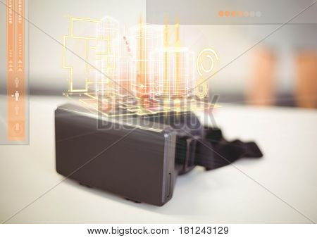 Digital composite of VR Virtual Reality Headset with Interface