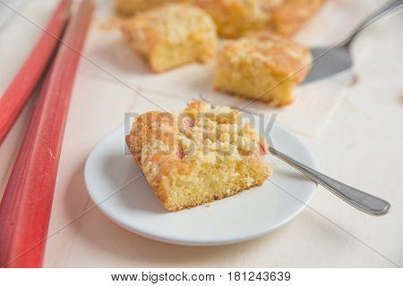Home made Sweet Rhubarb cake with fresh rhubarb