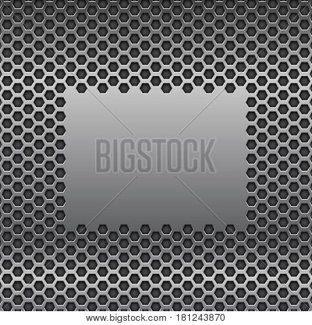 Metal perforated background with plain brushed steel element. Vector 3d illustration