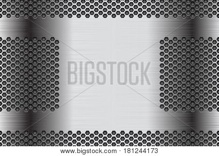 Metal perforated background. Stainless steel brushed surface with hexagon holes. Vector 3d illustration