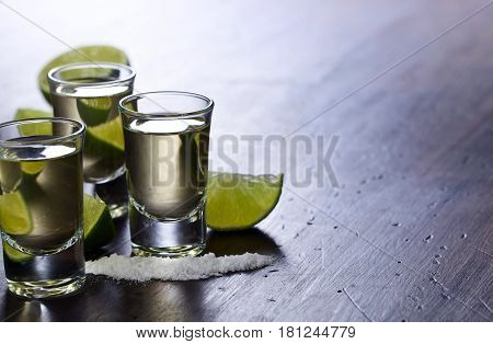 Mexican Gold Tequila With Lime And Salt
