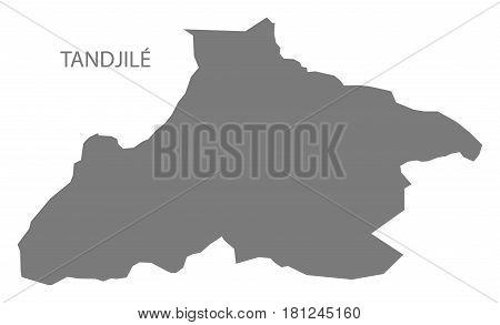 Tandjile Chad Region Map Grey Illustration Silhouette