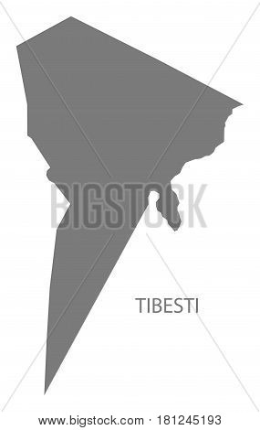 Tibesti Chad Region Map Grey Illustration Silhouette
