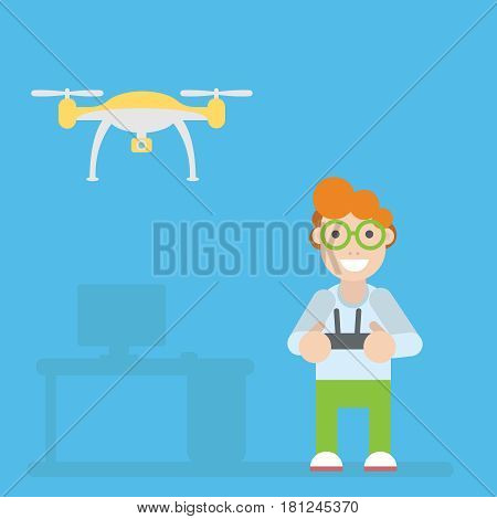 Drone and guy with remote controls. Vector flat illustration