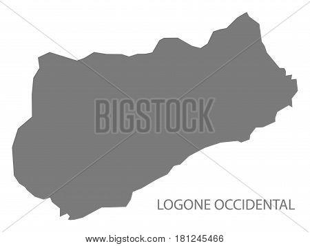 Logone Occidental Chad Region Map Grey Illustration Silhouette