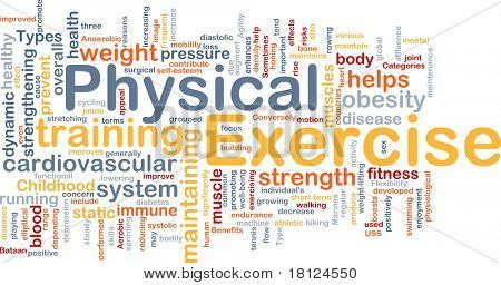 Background concept wordcloud illustration of physical exercise