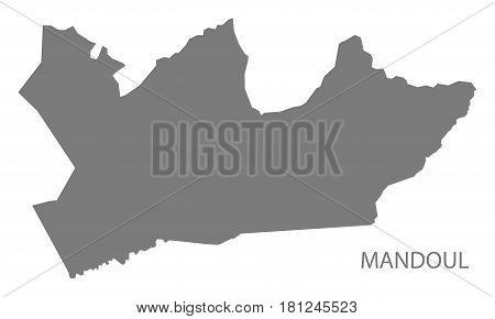 Mandoul Chad Region Map Grey Illustration Silhouette